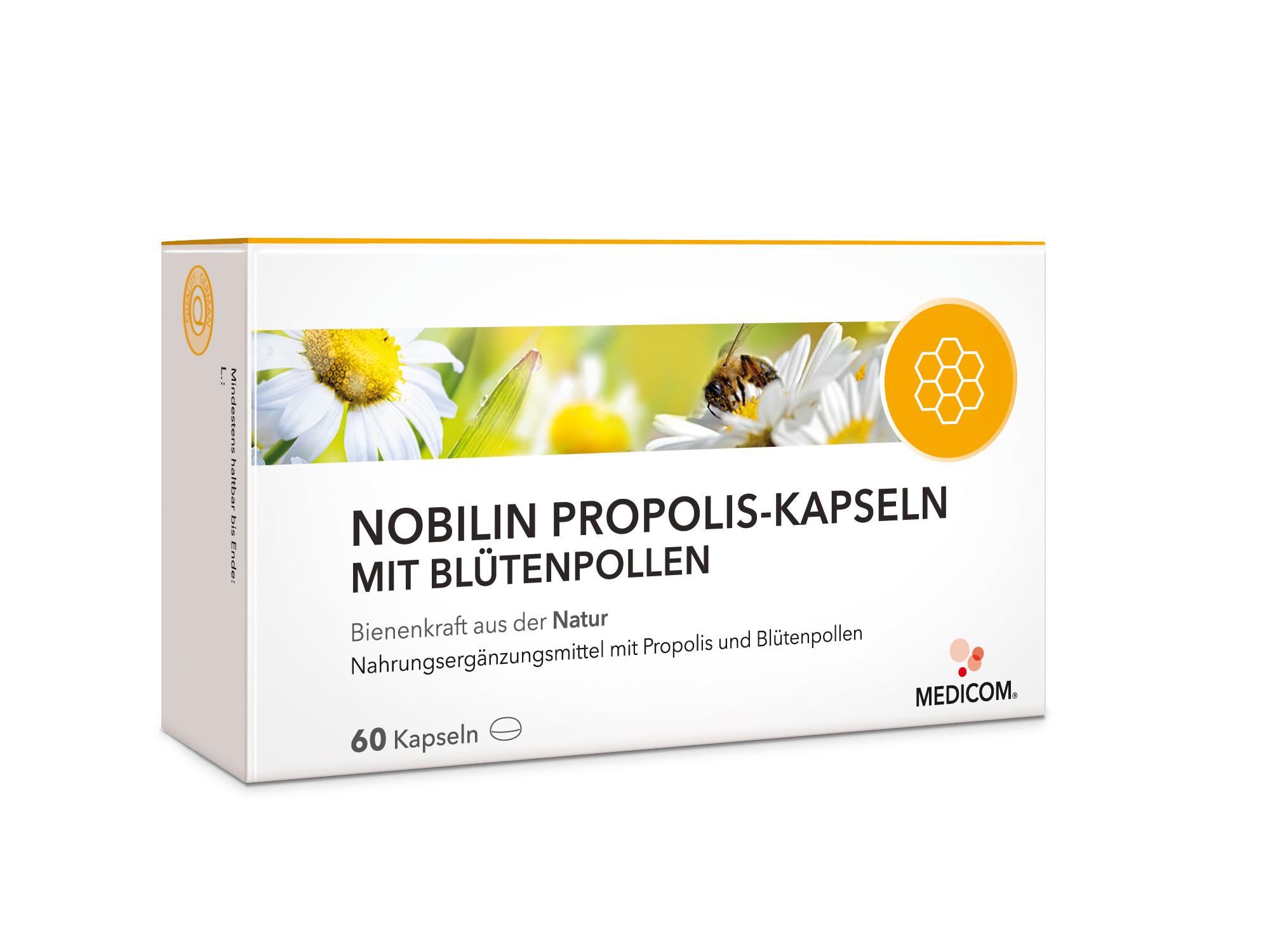 nobilin propolis kapseln mit bl tenpollen bienenkraft und vorsorge aus der natur in einem. Black Bedroom Furniture Sets. Home Design Ideas