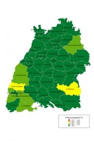 Erfassungsgrad der Krebsneuerkrankungen in den einzelnen Regionen © Krebsregister Baden-Württemberg