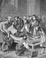 Der Durchbruch von 1846: Morton betäubt den Tumorpatienten mit Ätherdämpfen. (Quelle: Shutterstock / Everett Historical)