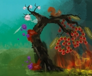 Die künstlerische Darstellung illustriert die Rolle der hochreaktiven Sauerstoffverbindungen, von TNF und JNK bei der Entstehung von Krebs in der Leber (hepatozelluläres Karzinom und Gallengangskarzinom) © Peter von Walter/DKFZ