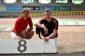 """Das Foto von Markus Rehm und Steffi Nerius beim Training in Leverkusen können Sie unter Angabe der Quelle """"DBS"""" honorarfrei nutzen."""