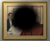 """""""Im Auge des Betrachters"""" Nadja Zikes. Fotomontage des Gemäldes aus Sicht eines Betroffenen mit einer Makuladegeneration. Die Altersabhängige Makula Degeneration (AMD) ist in den Industrieländern die häufigste Ursache für Erblindung. In Deutschland gibt es über 4 Mio. Betroffene."""