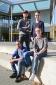 Eric, Max, Lars und Daniel beim Erfahrungsaustausch der Deutschen Schlaganfall-Hilfe für junge Betroffene in Duisburg.