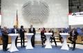 Diskutierten intensiv u.a. die Themen Rx-Versandverbot, Digitalisierung im Gesundheitswesen und Apothekenhonorierung (v.l.n.r.): Dr. Georg Kippels (MdB, CDU/CSU), Dirk Heidenblut (MdB, SPD), Moderator Ralph Erdenberger, Thomas Preis, AV Nordrhein e.V., Sylvia Gabelmann (MdB, Die Linke),  Maria Klein-Schmeink (MdB, Bündnis 90/Die Grünen), Katrin Helling-Plahr (MdB, FDP), Jörg Schneider (MdB, AfD).