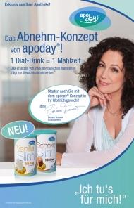 Das Abnehm-Konzept von apoday® wird in der Apotheke von der Marketingkampagne 'Ich tu's für mich' mit Barbara Wussow, Schauspielerin, begleitet.