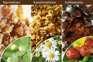 Myrrhe, Kamille und Kaffeekohle zeigen entkrampfende Wirkung.