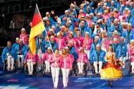 """Die Deutsche Paralympische Mannschaft bei der Eröffnungsfeier vor vier Jahren in London. (Quelle: """"Ralf Kuckuck, DBS-Akademie)"""
