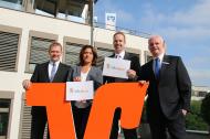Das BGM-Team der VR Bank Rhein-Sieg macht sich für die Gesundheit Ihrer Kolleginnen und Kollegen stark: (v.l.) Jürgen Klütsch, Stefanie Kösters, Michael Schmitz und Stefan Schmitt.