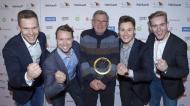 Die 4x100 Meter Staffel v.l.n.r.: Markus Rehm, David Behre, Trainer Karl-Heinz Düe, Felix Streng, Johannes Floors, DBS/Ralf Kuckuck