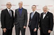 Das Bild zeigt alle Preisträger und Laudatoren der Sobek-Preisverleihung 2016: Ulrich Steinbach, Prof. Dr. rer. nat. Ari Waisman, Dr. med. Veit Rothhammer und Prof. Dr. med. Klaus V. Toyka