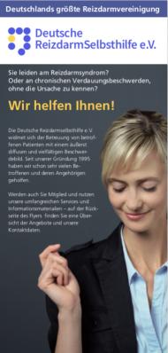 Arztpraxen und Apotheken können den kostenlosen Wartezimmerflyer der Dt. Reizdarmselbsthilfe e.V. anfordern bei info@reizdarmselbsthilfe.de