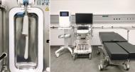 Eingriffsraum des interdisziplinären US-Zentrum: Ein semisteriler Raum gewährleistet hohe Flexibilität in der US-Intervention. Der direkt im Setting integrierte Desinfektionsautomat erlaubt hierbei eine nahe, einfach durchzuführende und standardisierte Sondenaufbereitung, welche in die Prozessdokumentation von US-Interventionen integriert wird. Die Aufbereitung der transrektalen Ultraschallsonde (links) erlaubt den Ärzten/Ärztinnen eine Prozedur der Sondenaufbereitung, welche zwischen den Patienten im klinischen Setting ohne großen Zeitverlust und standardisiert durchzuführen ist. (Quellenangabe: Charité – Universitätsmedizin Berlin)