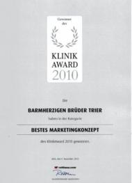 """Urkunde für die Kategorie """"Bestes Marketingkonzept"""" des KlinikAwards 2010"""